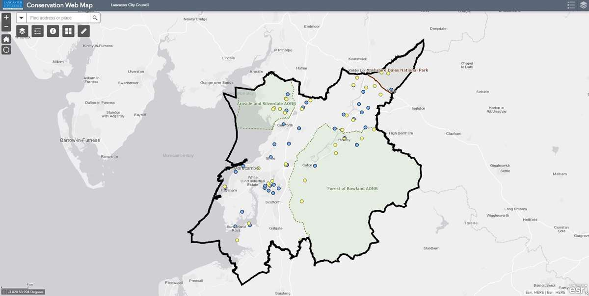Interactive map view showing AONB areas in the Lancaster district