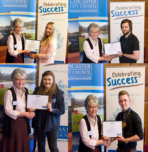 Some of our successful apprentices - clockwise from top left Lydia, Matthew, Jak and Sarah