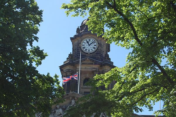 Union Flag flies at half mast at Lancaster Town Hall