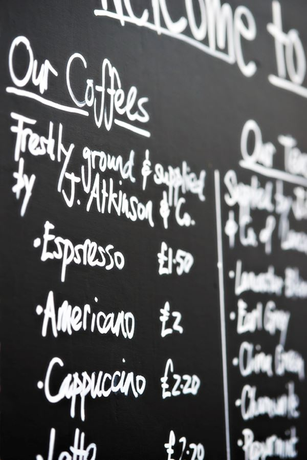 Coffee menu at the Pavilion Cafe