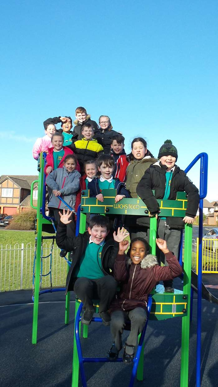 Children from Grosvenor Park Primary School celebrate opening of new play on their patch