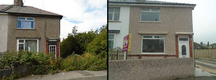 A property in Heysham before and after intervention from the council's Empty Homes Officer