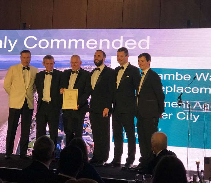 Julian Wilson (VBA), Dom Bradley (VBA), Gary Bowker (Lancaster City Council), Richard Walsh (VBA), receive the commendation from Andrew Wyllie (ICE President 2018/19) and Tom Glovehew (ICE North West