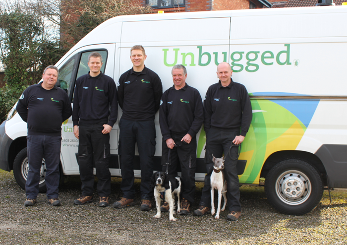 The Unbugged team (l/r):Ron Haygarth, Lee Illingworth, James Bland, Mike Tyrrell (with Lemmy the whippet) and Andy Henworth (with Freddie the English Springer Spaniel).