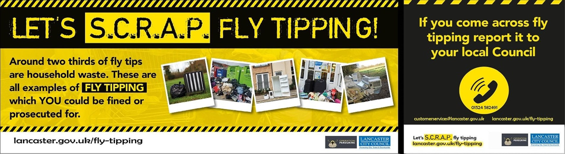 Let's SCRAP fly-tipping banner